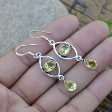 Citrine Gemstone Earrings - 925 Silver Dangle Earrings Jewelry - Women's Jewelry- Gemstone Gift Jewelry - Yellow Stone Gift Earrings