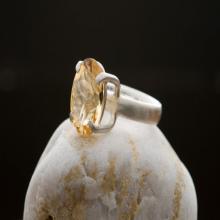 Citrine Ring - Large Citrine Silver Ring - Citrine Cocktail Ring - Orange Gemstone Ring