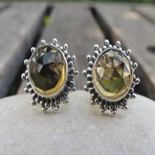 Citrine Silver Studs- Citrine Studs- Citrine Post Earrings- Silver Stone Studs- Gemstone Earrings- Citrine Silver Studs