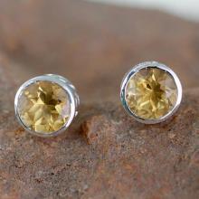 Citrine Stud Earrings Sterling Silver Jewelry