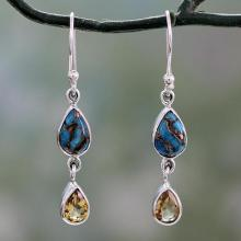 Citrine and Composite Blue Turquoise Dangle Earrings, 'Heavenly Light'