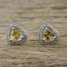 Citrine and Cubic Zirconia Heart Stud Earrings