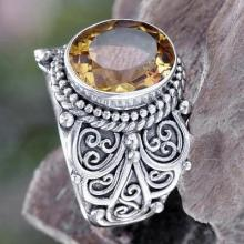 Citrine and Sterling Silver Cocktail Ring