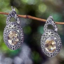 Citrine and Sterling Silver Dangle Earrings from Bali, 'Gracious Sunset'