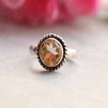 Citrine ring - Natural citrine ring - Round citrine ring, bezel set, birthstone, november, sterling silver ring,handmade