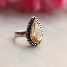 Citrine ring - Natural citrine ring - drop citrine ring, bezel set, birthstone, november, sterling silver ring,handmade
