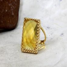 Citrine statement ring,gold ring,rectangle ring,Citrine ring,cocktail ring,gemstone ring,November birthstone ring.jpg