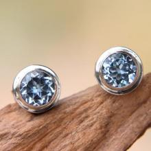 Blue Topaz and Sterling Silver Round Stud Earrings