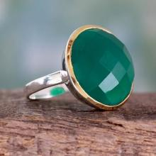 Cocktail Ring with Green Onyx in Sterling Silver