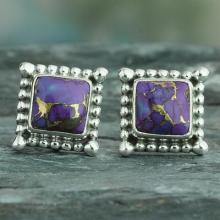 Composite Purple Turquoise Earrings Handmade