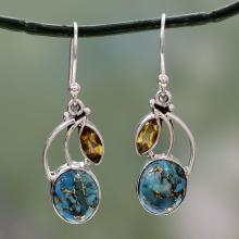 Composite Turquoise and Citrine Silver Dangle Earrings, 'Modern Mystique'