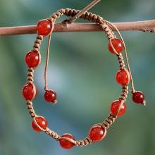 Cotton and Carnelian Artisan Crafted Shambhala Bracelet
