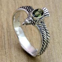 Crafted Peridot and Sterling Silver Ring