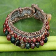 Crocheted Wristband Bracelet with Labradorite and Jasper