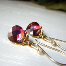 Crystal Earrings Goldfilled, Rare Cathedral Rainbow Color Briolette Dangle, Special Coating Crystal Carnival Earrings