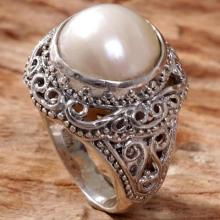 Cultured Mabe Pearl Ring Hand Crafted