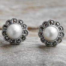 Cultured Pearl Marcasite Stud Earrings