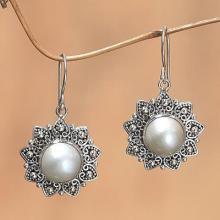 Cultured pearl flower earrings, 'Melati Hearts'
