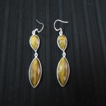 Cut Tiger Eye Silver Earring