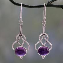 Dangle Earrings with Amethyst Cabochons in Sterling Silver, 'Wisdom Path'