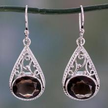 Dangle Style Earrings with Smoky Quartz and 925 Silver, 'Misty Romance'