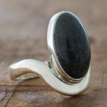 Dark Green Jade on Sterling Silver Artisan Crafted Ring