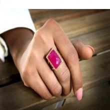 Dark pink Chalcedony ring,Large rectangular ring,14k gold filled ring,Rectangular cocktail ring,pink ring