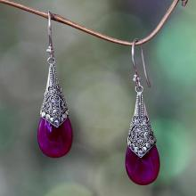 Deep Pink Chalcedony and Silver Dangle Earrings from Bali, 'Puncak Jaya in Pink'
