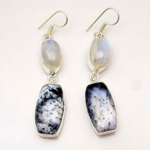 Dendrite Opal Earrings  Moonstone Earrings Sterling Silver  Dangle Earrings Gemstone Earrings