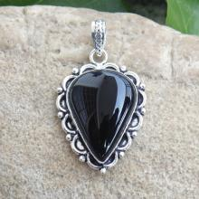 Designer Black Onyx Pendant - Handcrafted Sterling Silver Pendant - Indian Fashion Pendant - Pear Cabochon Pendant - Bezel Setting