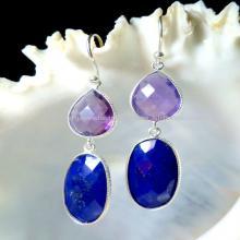 Designer silver Bezel earrings