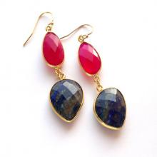 Double Gemstone Earrings Lapis Lazuli Earrings Bezel Earrings Dangle Earrings Long Lapis Jewelry Gold Filled Pink Stone Statement Earrings