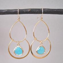 Double Hoop Earrings with Glass Accents