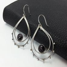 Double Teardrop Earrings, Sterling Silver Earrings, Dangle Earrings, Oxidized Silver Teardrop, Black Glass Cat's eye Cabochon