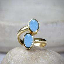 Double stone ring,gold ring,blue chalcedony ring,bezel set ring,gold stackable rings,stacking ring,