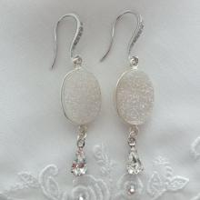 Druzy Gemstone Earrings, Accented Gemstone Earrings, Bridal Earrings, Wedding Jewel