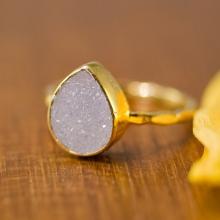 Druzy Ring - April Birthstone Ring - Gemstone Ring - Stacking Ring - Gold Ring - Tear Drop Ring