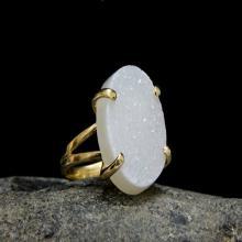 Druzy ring,gold ring,statement oval ring,rough ring,bridal ring,gemstone ring,natural stone ring,white cocktail ring