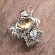 Eagle Theme Ring with Citrine and Blue Topaz