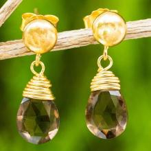 Earrings with 24k Gold Plated Silver and Smoky Quartz, 'Smoky Sunrise'