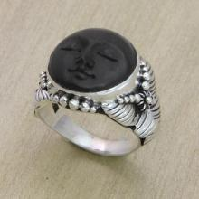 Ebony Wood and Silver Cocktail Ring