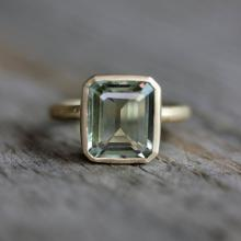Emerald Cut Green Amethyst Ring, Prasiolite Ring in Recycled 14k Yellow Gold