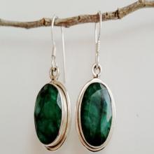 Emerald Earrings - Green Emerald Jewelry - May Birthstone Earrings - Sterling Silver Emerald Earrings - Emerald Drop Earrings