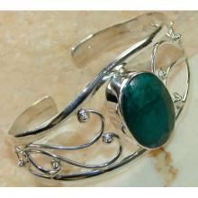Emerald Faceted Bangle 925 Sterling Silver