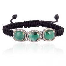Emerald Gemstone Macrame Silver Bracelet