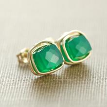 Emerald Green Onyx Gemstone Earrings, May Birthday Jewelry, Gold Post Earrings