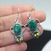 Emerald, Peridot Earrings, Sterling Silver Earrings, Gemstone Earrings.