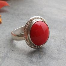 Ethnic ring - Red coral ring - Artisan ring - Round ring - Custom ring - Gemstone ring - Sterling silver - Gift for her
