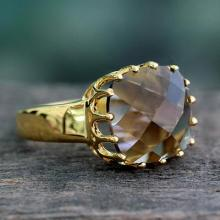 Faceted 4 Ct Smoky Quartz and Vermeil Ring from India