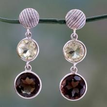 Faceted Lemon Quartz and Smoky Quartz Earrings, 'Smoke and Fire'